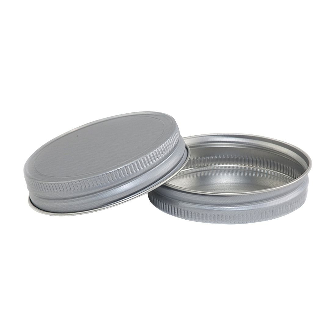 North Mountain Supply Regular Mouth Metal One Piece Mason Jar Unlined Lids - Flat Top - Pack of 72 - Aluminum Colored