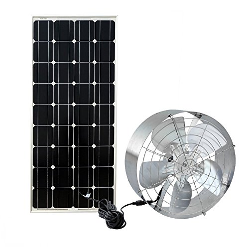 Fisters Solar Power Attic Gable Roof Fan-100W 18V Monocrystalline Solar Panel and 65W MC4 Ventilator Fan Ventilation Home Office Outdoor Gable Loft Garage