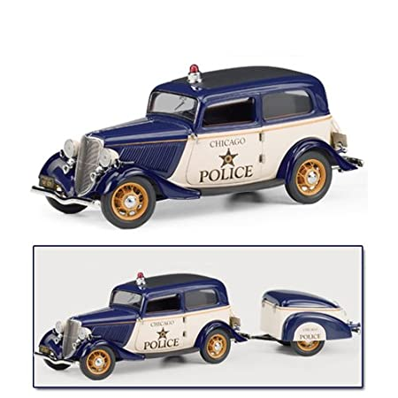 Franklin Mint 1933 Ford Deluxe Tudor Police Car with Trailer