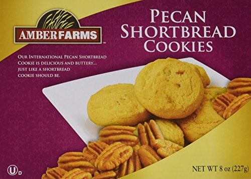 NEW Amber Farms Pecan Shortbread Cookies Pack of 2 Boxes of 8oz =1lb