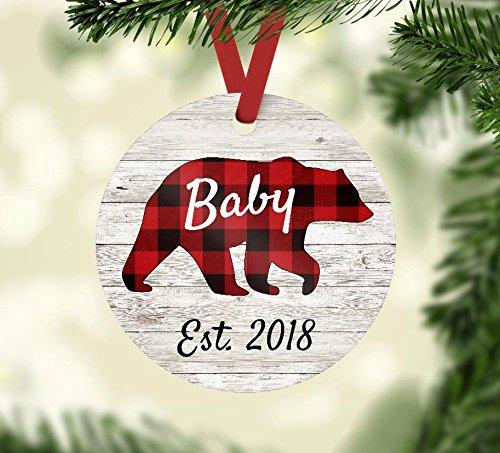 Christmas Ornament - Baby Bear Est. 2018 - Red Buffalo Plaid