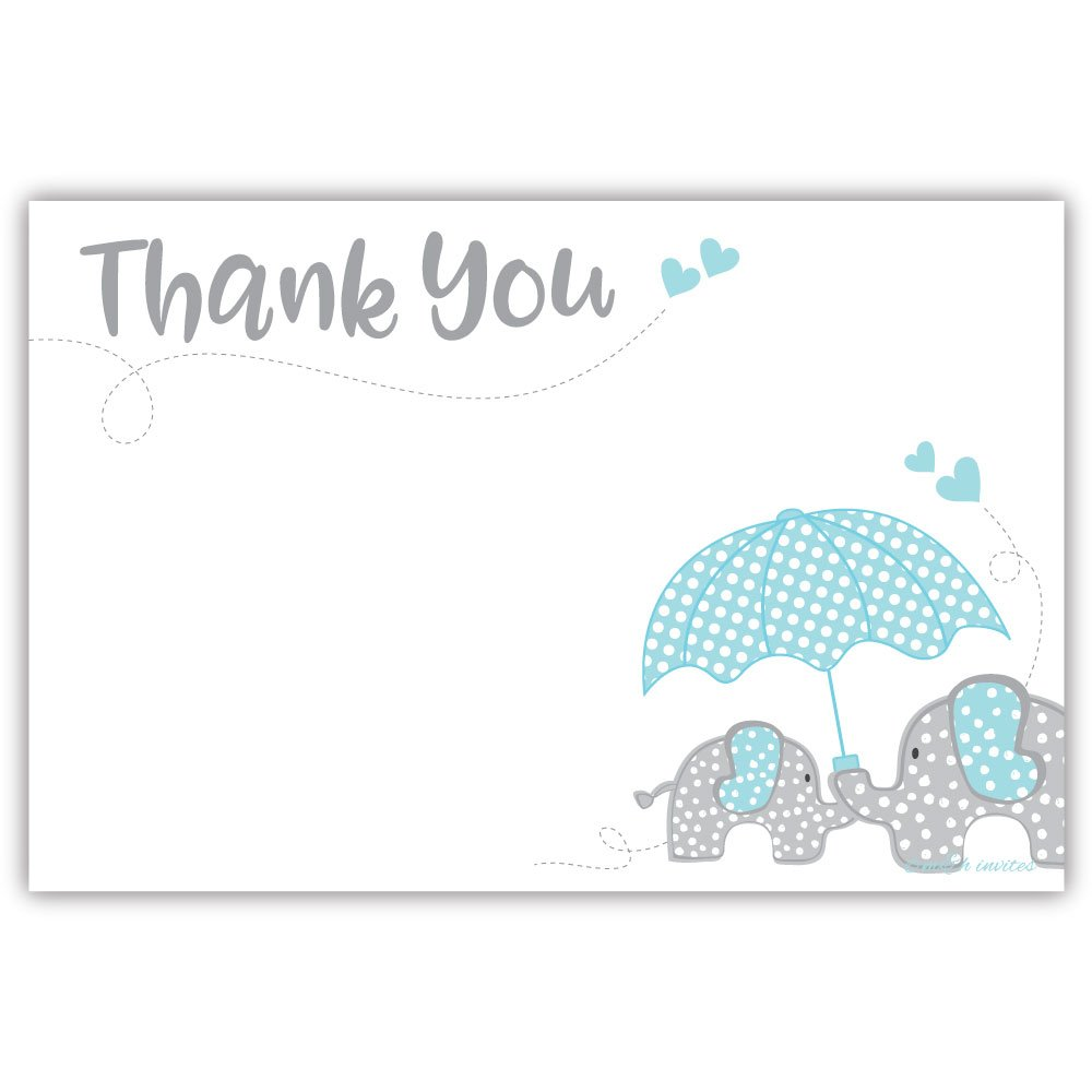 Blue Elephant Boy Baby Shower Thank You Cards (20 Count)