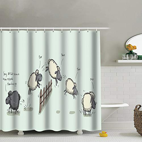 (best bags Counting Sheep Jumping Over Fence Animals Wildlife Waterproof Shower Curtain Liners Bathroom Decoration with Rust Proof Hooks 66X72 Inch )