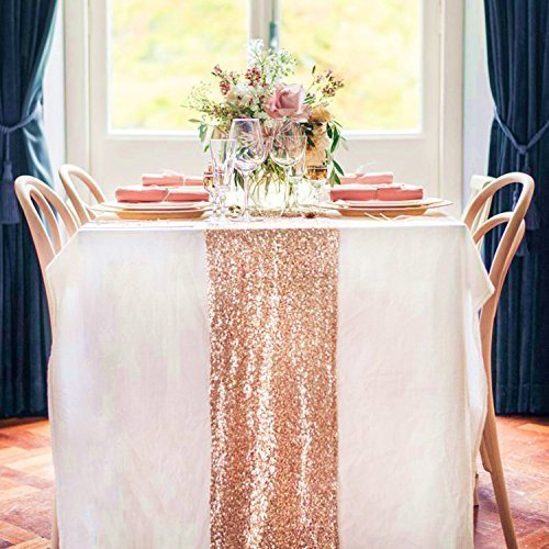 12 By 108 Inch Wedding Royal Sequin Table Runner  Rose Gold