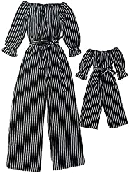 Vicky Wheeler Mom and Daughter Matching Outfits Off Shoulder Long Pants Rompers Vertical Stripe with Belt Jump