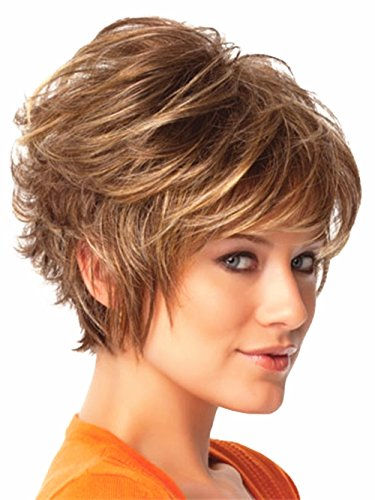 B-G Cosplay Short Full Brown Hair Wig with Wig Cap for Women, WIG024