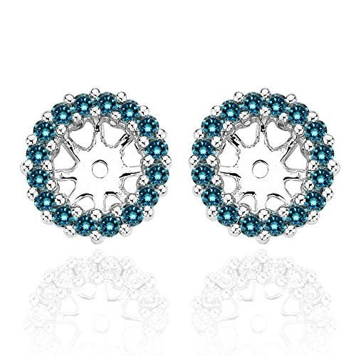 (0.78 Carat Blue Diamond Halo Solitaire Stud Earrings Jackets 14K White Gold For 6 MM(2.00 Carat Earrings))