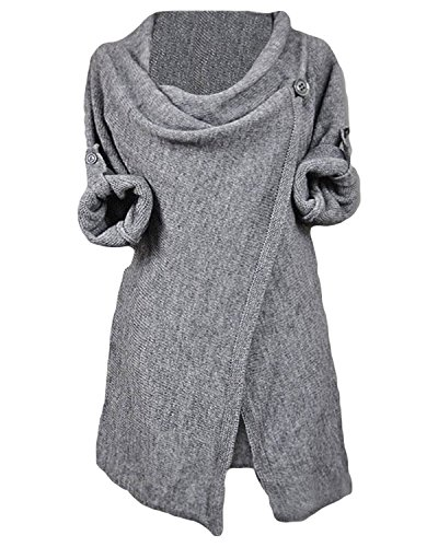 Cupshe Fashion Women's Asymmetric Hem Split Wrap Sweater Poncho Coat (M, Grey)