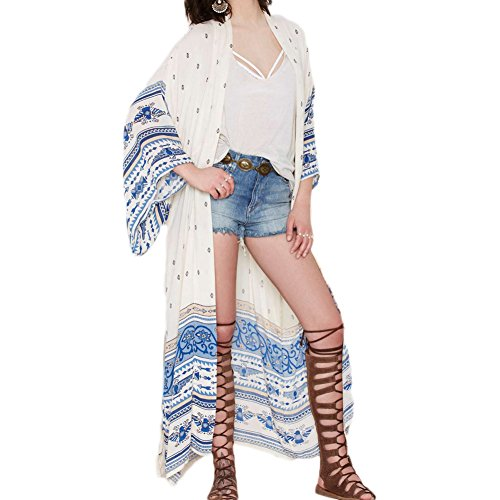 bagno da Spiaggia 3 Estate Chiffon Boho Sunscreen in per Cover Donna Bikini QQI maniche Lunga Camicetta Kimono Donna Up 4 Tops Costumi O4wOzqUH8