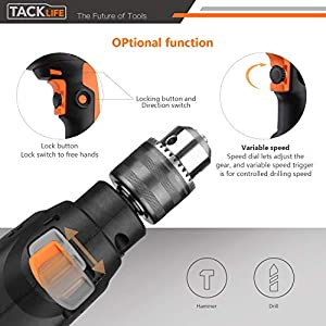 Hammer Drill, TACKLIFE 1/2-Inch Electric Hammer Drill and Impact Drill, 12 Drill Bit Set, 2800 RPM, Variable-speed Trigger, 360° Rotating Handle, For Brick, Wood, Steel, Masonry - PID01A