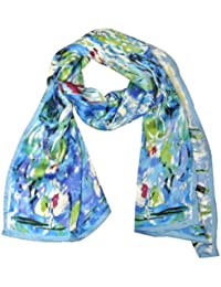 Luxurious 100% Charmeuse Silk Long Scarf with Hand Rolled Edges, Claude Monet's Water Lilies