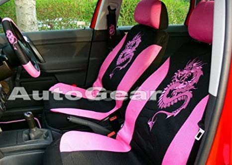 13 Pc Pcs Piece Green Dragon Car Seat Covers Set+Mats+Steering Wheel Cover Glove+Harness Shoulder Pads Package Pack Deal