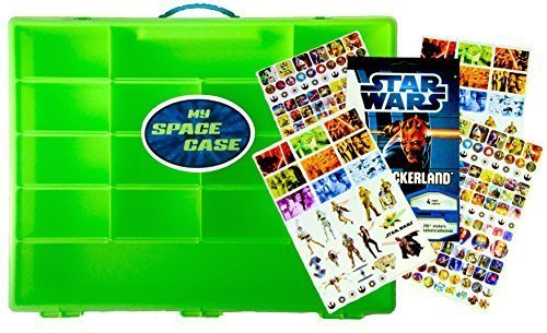 My Space Case and 295 Star Wars Stickers, Organizer for Mini Figures, Lightsabers, Tools, Weapons, Windows, and Other Specialty Building Lego Pieces- Sturdy, Lightweight Case for Easy Travel