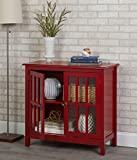 Beautifully and Stylish Cabinet, Creates Additional Storage Space for Your Dinnerware while Enhancing Your Home's Decor, Features Window Pane Doors, Red + Expert Guide