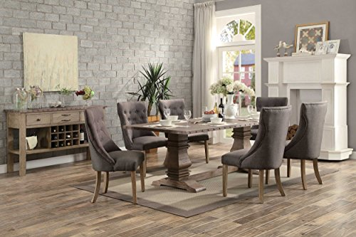 Homelegance Anna Claire 7-Piece Dining Set 84-inch Zinc Top Dining Table and 6 Button Tufted Wingback Chairs by Homelegance (Image #1)'