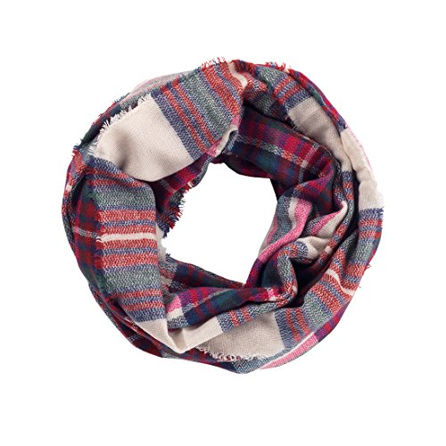 Londyn Infinity Soft Scarf - Loop, Circle, Eternity, All Season Can Be Monogrammed (Pink Green Plaid)
