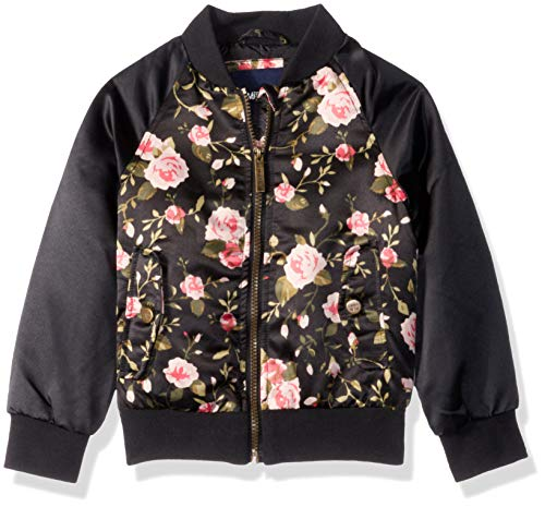 Limited Too Girls' Big Bomber Jacket with Floral Print, Black, 10/12