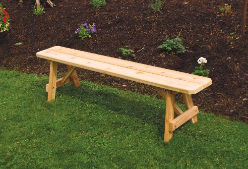 Cedar 6 Foot Traditional Picnic BENCH ONLY - STAINED- Amish Made USA -Redwood
