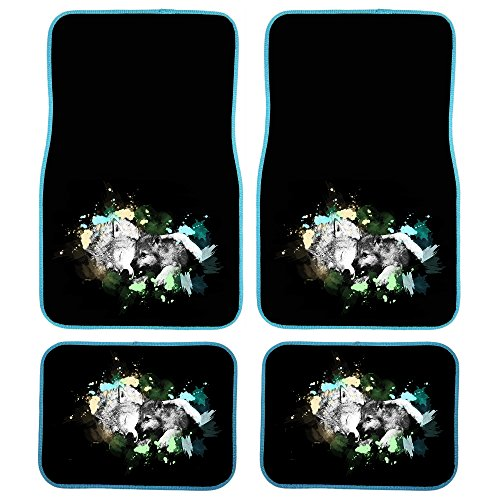 Wolf Car Mats - UAA 4pc Mom and Pup Wolf Pack Animal Universal Front & Rear Carpet Floor Mat Set