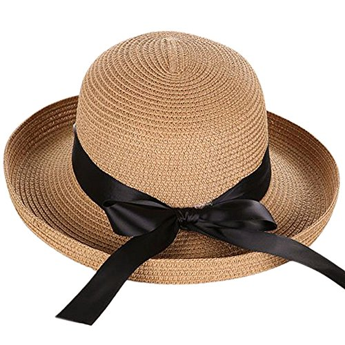 Andy&Esther Hand-Weaved Turn Up Brim Beach Hat UPF50 Sun Hat for Women Straw Hat (Dark Color)
