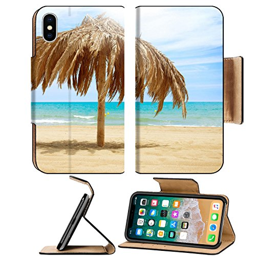 MSD Premium Apple iPhone X Flip Pu Leather Wallet Case IMAGE ID 20793592 Vacation Concept Palapa Sun Roof Beach (Leather Sunroof)