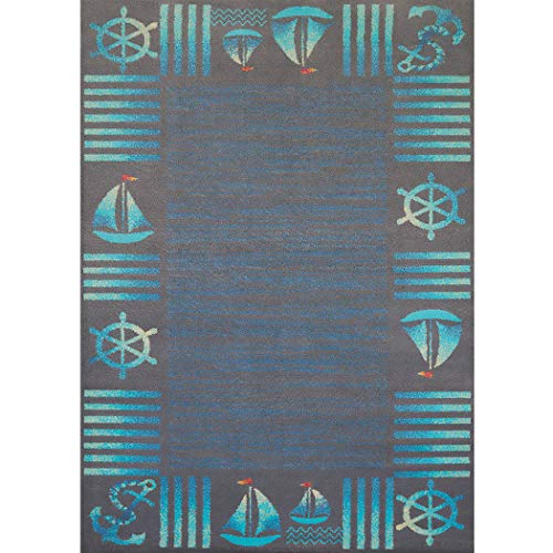 Cottage Sea (Ln 5'3x7'2 Blue Aqua Nautical Sailor Area Rug Rectangle, Indoor Navy Beach Sailboat Carpet for Living Room Coastal Floor Mat Anchor Sea Ocean Cottage Lake House Water Marine Life, Polypropylene)