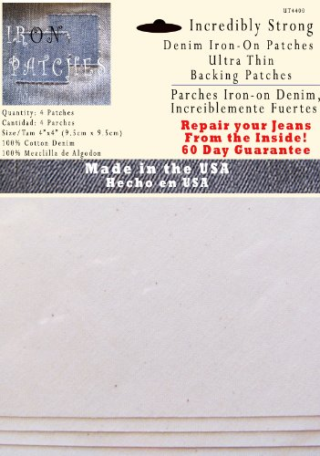 Jeans Patch Sewing - 4 Ultra Thin Backing Patches - Super Strong Iron on Inside Patch - White