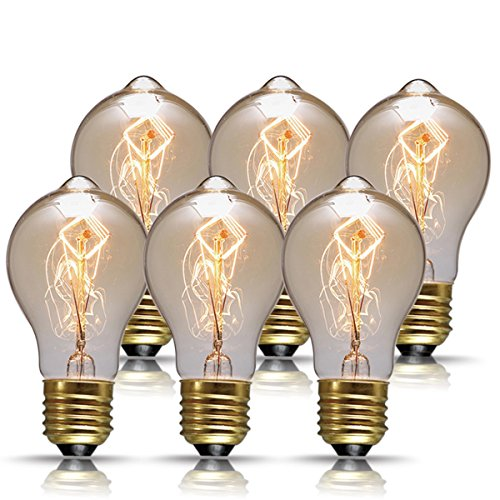 6 Light 60w Pendant (DORESshop Vintage Edison Bulbs, 60W A19 Antique Style Filament Pendant Lighting, Amber Glass (E26), Dimmable Light Bulb for Home Light Fixtures, Omnidirectional 360 Degrees Angles, 6-Pack)