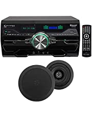"DV4000 4000w Bluetooth Home Theater DVD Receiver+2 5.25"" Black Ceiling Speakers"