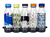 reduce WaterWeek Reusable Water Bottle Set with Fridge Tray - 5 Flask Pack, 20oz - BPA Free, Leak-Proof Twist Off Cap - Clear Bottles with Colored Patterns - Reduce Plastic Use, Increase H2O Intake