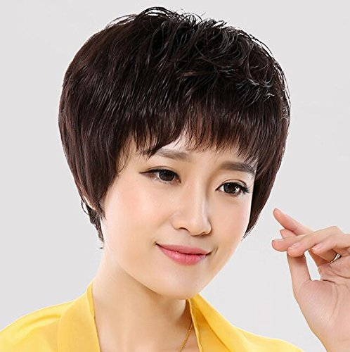 Microphase Sleeve Mother Wig Elderly Women Girls Female Short Hair Wig Realistic Short Fluffy Bangs Straight Whole Wig