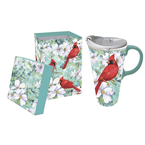 Cypress Home Cardinal Trio Ceramic Travel Coffee Mug, 17 ounces by Cypress Home (Image #1)