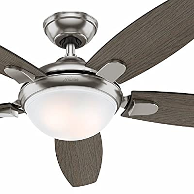 "Hunter Fan 54"" Contemporary Ceiling Fan in Brushed Nickel with LED Light and Remote (Certified Refurbished)"