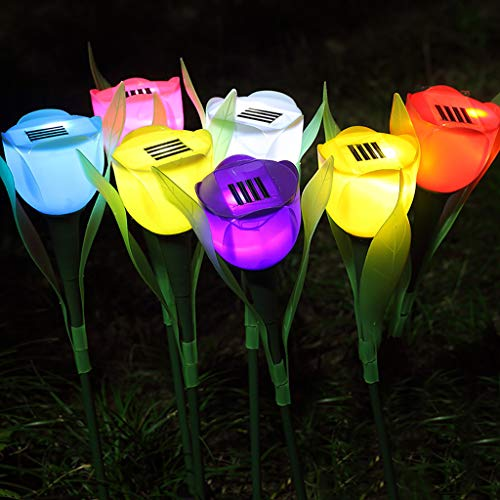 Gotian Outdoor Solar Powered Tulip Flower LED Light Yard Garden Lawn Landscape Lamp Hot,Lights Artificial Flowers Decro Your House (Pink)