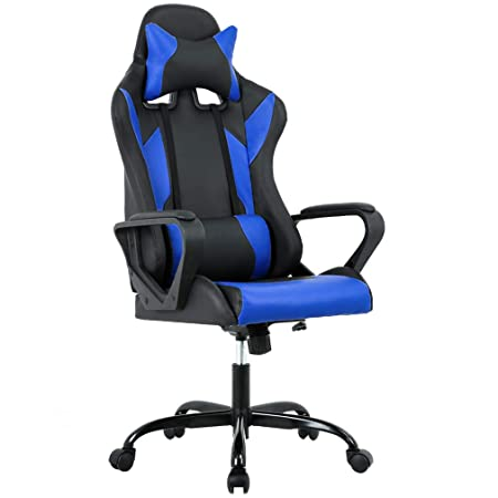 High-Back Gaming Chair PC Office Chair Computer Racing Chair PU Desk Task Chair Ergonomic Executive Swivel Rolling Chair with Lumbar Support for Back Pain Women, Men Blue
