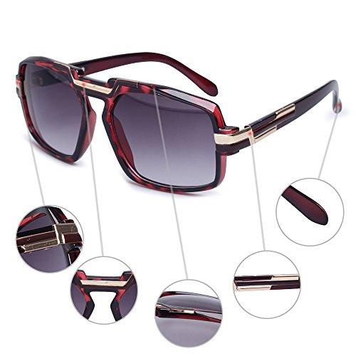 para unisex de de los la diseño hombres de de mujeres cuadrada para retro el sol del Gafas vidrios de lente UV400 fábrica marca los Proteja las Rojo la 0dnqFZqR
