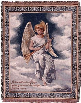Angel Throw (Trumpeting Angel Full-Size Deluxe Tapestry Throw Blanket USA)