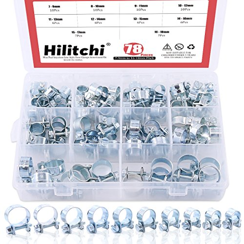 Hilitchi 78-Pcs Mini Fuel Injection Line Style Hose Clamps Assortment Kit - 10 Kinds of Size