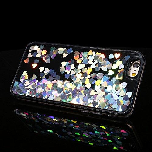 Etsue pour [ iPhone 6/6S ] Coque de Téléphone,Sur Fond Noir Case Cover étui pour iPhone 6/6S, Interne Liquide Fluide de Scintillement Mode [Sables Mouvants Coloré Coeur et Étoiles Motif] étui pour iPh