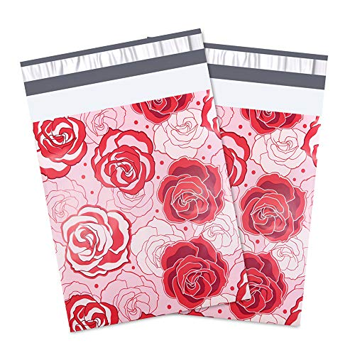 UCGOU #4 10x13 Red and Pink Roses Designer Poly Mailers Shipping Envelopes Boutique Custom Bags 2.35MIL Postal Bags ()
