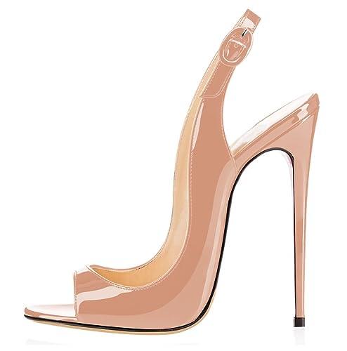 elashe - Scarpe da Donna - Peep Toe Slingback Sandali - Tacco a Spillo con  Cinturino 58a12186bae