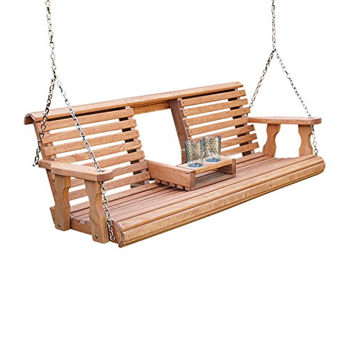 Porchgate Amish Heavy Duty 800 Lb Rollback Console Treated Porch Swing With Hanging Chains (Cedar Stain) - Swing Porch Seat