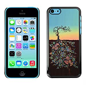 LASTONE PHONE CASE / Carcasa Funda Prima Delgada SLIM Casa Carcasa Funda Case Bandera Cover Armor Shell para Apple Iphone 5C / Cool Sunset Art Metaphor Sky Stylistic