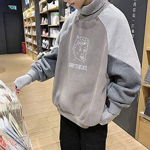 BSCOOLメンズ パーカー タートルネック 切り替え ゆったり トレーナーパーカー 韓国風 ファッショントップス アウター 春 秋