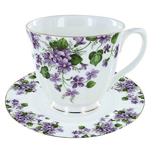 (Gracie's Violets Bone China - Teacup and Saucer Set of 4)
