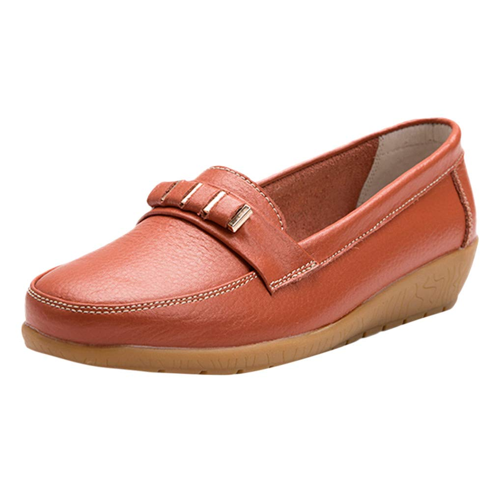 Women's Loafer Shoes Casual Round Toe Moccasins Leather Flat Oxford Shoe Natural Soul Penny Walking Driving Shoes (Orange, US:5)