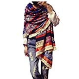 Women's Boho Bohemian Soft Blanket Oversized Fringed Scarf Wraps Shawl Sheer Gift