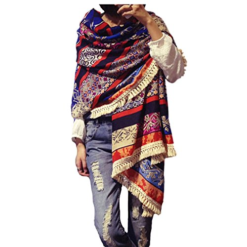 - Women's Boho Bohemian Soft Blanket Oversized Fringed Scarf Wraps Shawl Sheer Gift