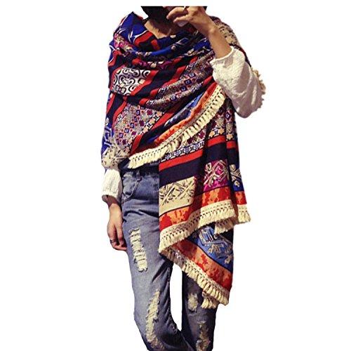 Women's Boho Bohemian Soft Blanket Oversized Fringed Scarf Wraps Shawl Sheer Gift -