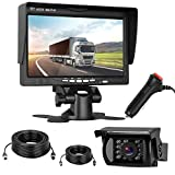 "Cheap Backup Camera and 7"" Monitor Kit for Trailer/Truck/Camper/Motorhome with 43ft + 23ft 4-pin Cable Connected/Disconnected Easily Waterproof Night Vision Continuous/Reverse Use Wire Single Power ON/Off"